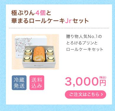 極ぷりん4個と華まるロールケーキJrセット